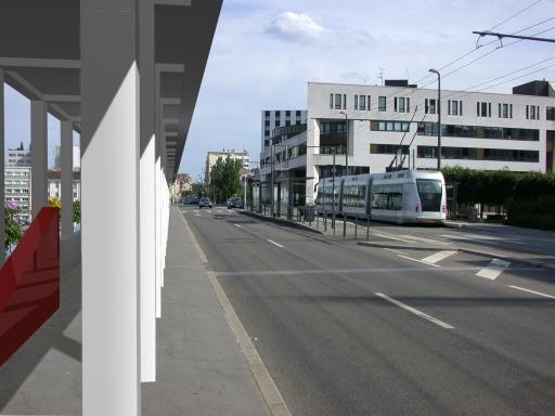 Vue en direction du bâtiment de la Communauté Urbaine du Grand Nancy