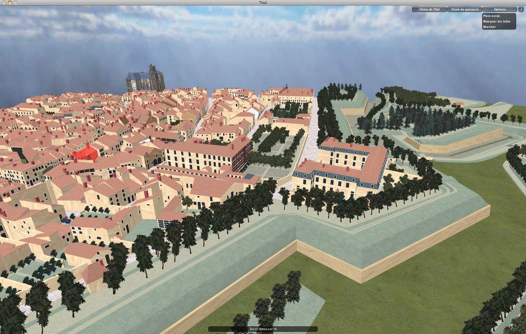 Modèle virtuel, vue sur la ville et les fortifications